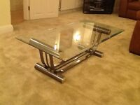 Clear Glass & Chrome coffee table