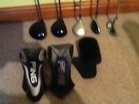 Set of Ladies golf clubs including Drivers, Woods, Putter, carry Bag and balls. Ideal starter set.