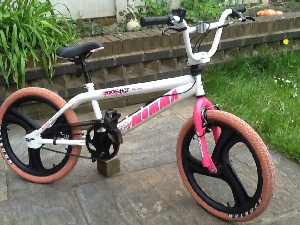 """Big momma rooster girls bmx stunt bikein Stockport, ManchesterGumtree - Big momma rooster girls bmx stunt bike Excellent condition Bright Pink and white colour 20"""" 3 spoke mag wheels Pink rooster tyres 360 gyro spin round handlebars Also have rear stunt pegs for the bike Nice looking girly bmx bike 07901391086"""