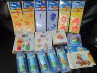 ASSORTMENT OF WINNIE THE POOH DECORATING STUFF 5 BORDERS, STAMPER SETS ,HANDLES ,HOOKS AND PLUG IN