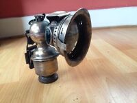 Rare millar carbide bycle lamp with light house glass beads,all intact.