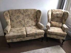 Cottage style settee and chair