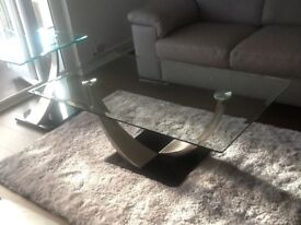 Excellent condition glass coffee table with matching lamp table, uplift only