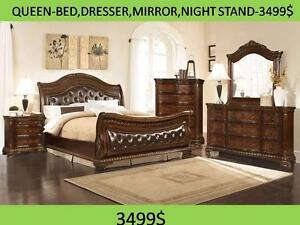 SOLID WOOD QUEEN SIZE BEDROOM SET FROM 599$