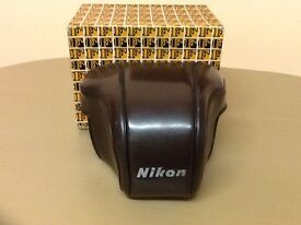 Nikon F brown leather case with original box