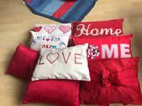 Shabby chic red cushions