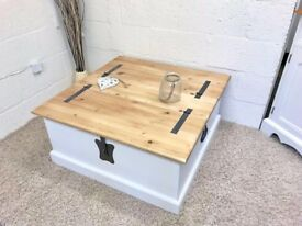 Solid Pine Ottoman Coffee Table With Dovetail Joints *** £149 ***