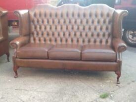 LEATHER CHESTERFIELD QUEEN ANNE 3 SEATER SOFA ANTIQUE TAN / BROWN REAL LEATHER CAN DELIVER £499