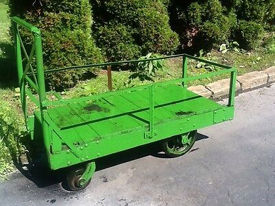 Antique Industrial Steel Wood Green Railroad Cart On Wheels - Great Look- Good
