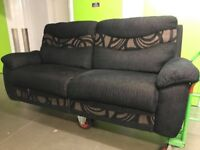 SCS Casper black fabric 3 seater sofa (settee) and storage footstool