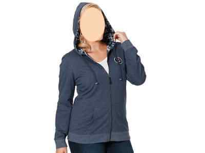 Damen Sweatjacke Pünktchen Blau S M L XL XXL Kapuzenjacke Zip Hoodie D393