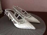 Wedding shoes size 3/36 white satin and diamonti kitten heal