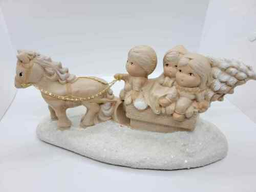Vtg Ceramic Music Box Handpainted Horse Drawn Sleigh Children Christmas Tree