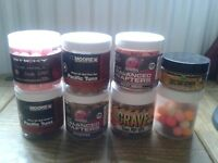 selection of carp fishing pop up boilies mainline baits sticky baits rod hutchinson cc moore