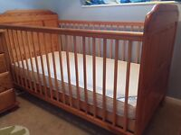 Pine Cot Bed and Mamas & Papas Sleepsafe Deluxe Foam Mattress - perfect condition