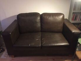 FREE Small Two Seater Brown Faux Leather Sofa