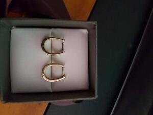 Diamond and 10ct Yellow Gold Huggie / Hoop Earrings Leda Kwinana Area Preview