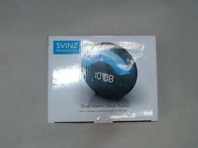 SVINZ Dual Alarm Clock Radio with Speaker and USB Charging Port