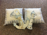 Nautical Maritime Sailor Homeware Bundle NEW cushions, anchor and lighthouse - Shop clearance