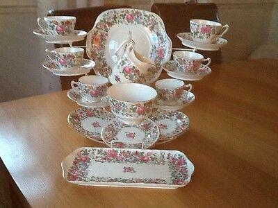 Crown Staffordshire  Thousand Flowers Pattern china  Tea  Set