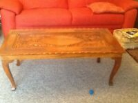 Carved wooden oriental coffee table (with safety glass top )