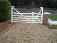 White Hardwood Entrance Gates , Good condition, large and small gate