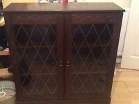 Dark/medium oak glass door cabinet
