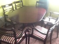 Mohogany dining table and chairs