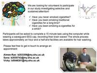 Volunteers needed for EEG study on smokers and e-cigarettes users at Sheffield Hallam University