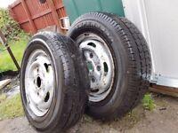 2 new 215/75/16c van tyres on transit rim
