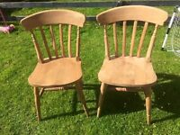 Pair of Solid pine farm house chairs