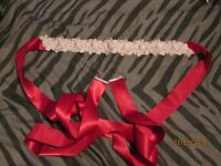 Handmade Crystal Pearls Beaded Waistband Belt/ / Sash Wedding Dress Ruby Red Bridal boxed brand new