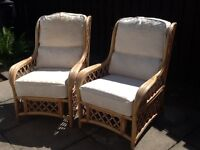 Two High Back Bamboo Chairs