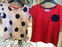 Girls Matalan t shirts x2 new 3/4 yrs