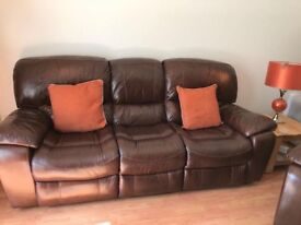 Brown leather seater recliner sofa and two single recliner seats