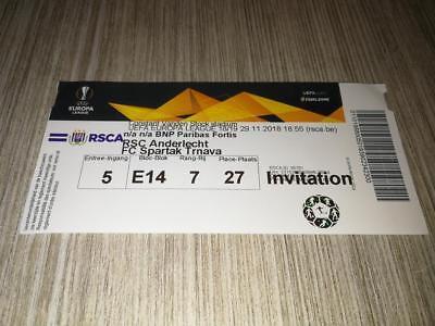 Rare TOP PERFECT Ticket : RSC Anderlecht - Spartak Trnava 29-11-18 Europa League
