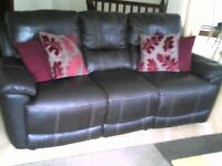 Recliner 3 seater Brown leather sofa
