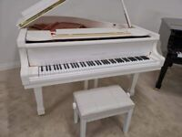 Brand New White SELF PLAYING Baby Grand Piano