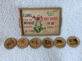 Old wooden tray and coasters set