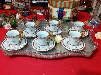 Set 6 tazzine caffè impero in porcellana tedesca design vintage