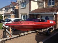 17ft Broom speedboat 90hp outboard and trailer