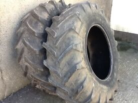 TRACTOR TYRES 16.9/28 (420/85/28) MICHELIN AGRIBIBS RADIALS WITH GOOD TREAD £250 FOR BOTH TYRES