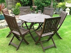 Six seater garden table and chairs