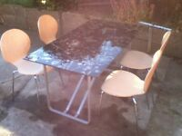 Ikea Black Glass Dining Table & 4 Chairs