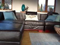 Brown Italian Leather Sofa Corner Unit, in 4 separate piece able to reconfigure shape.
