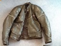 Men's short leather motorbike jacket