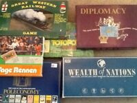 Selection of classic board games including Diplomacy , wealth of nations and 6-tage rennen