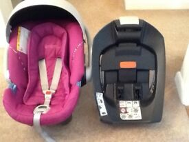 BABY ATON CAR SEAT & ISOFIX BASE. EXC CONDITION. FITS 0-18 MONTHS 13kg. 1 OWNER FROM NEW. INS. MAN