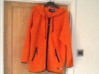 ORANGE fleece zip up hoodie. Used good condition