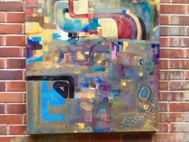 """Original abstract art hand painted:Golden dream """"90x90cm"""